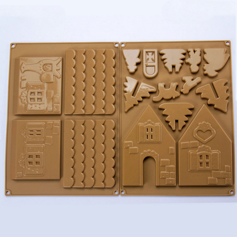 AMW Božić silikon plijesni 3D medenjak kuća čokolada plijesni torta uređenje alati pribor za pečenje