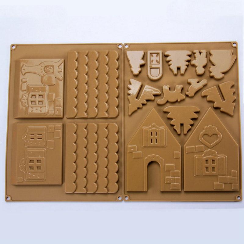 AMW navidad molde de silicona 3d casa de pan de jengibre molde de chocolate herramientas de decoración de pasteles para hornear accesorios