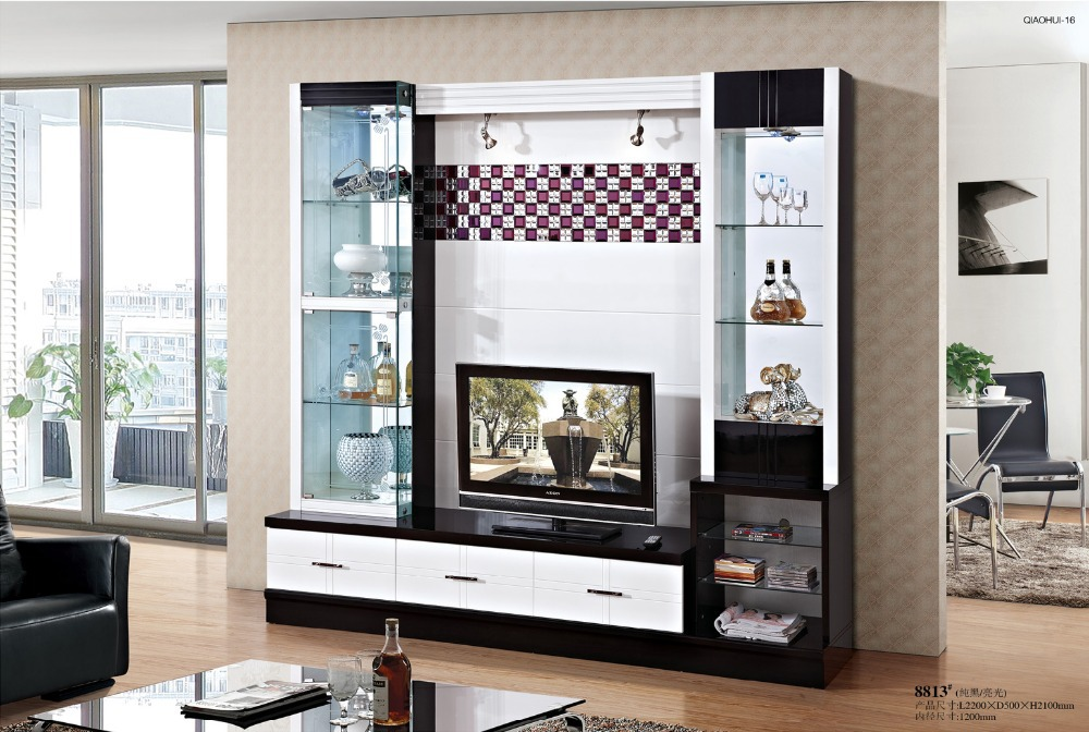Simple tv cabinet glass shelf white paint modern brief tv wall unit tv cabinet in tv stands from for Glass wall units for living room