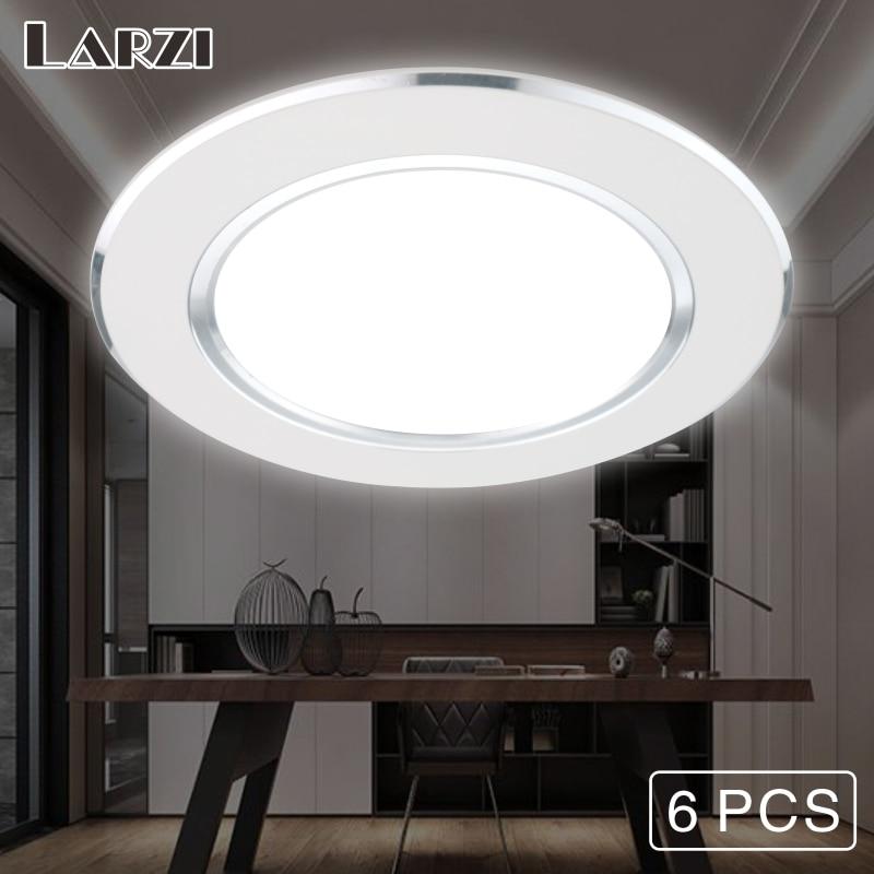 LARZI 6 Pcs LED Downlight 220V 230V 240V Round Recessed Lamp 3W 5W 7W 9W 12W Led Bulb Bedroom Kitchen Indoor LED Spot Lighting in Downlights from Lights Lighting