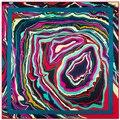 100 см * 100 см Женщин 2016 Новая Мода Twill Шелковый Картина Маслом Абстрактный Геометрический Печатной Площади Шарф Горячие Продажи большой Платок