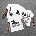 2017 Boy Ropa de Algodón Camiseta de Manga Larga Niños Camisetas Novedad Tatuaje de la Manga Del Bebé de La Muchacha Tops de Primavera y otoño de Los Niños ropa