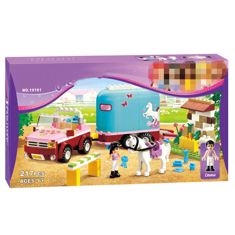 LegoINGlys Vänner 3186 Horse Farm Girls BELA 10161 Emma's Trailer Building Brick Blocks Sets Leksaker Educational DIY Blocks Gifts