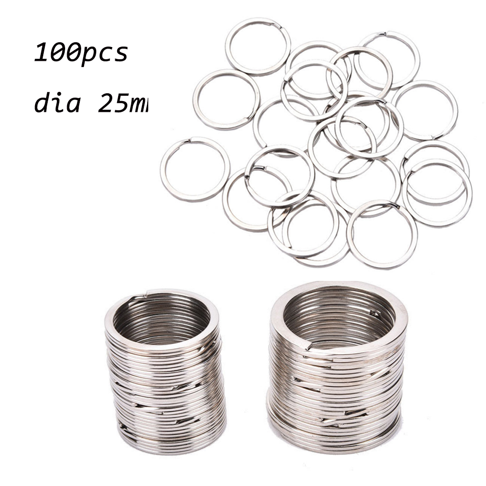 100 Pcs/Set Silvery Key Chains  Key Ring Stainless Alloy Circle DIY 25mm Keyrings Jewelry Keychain