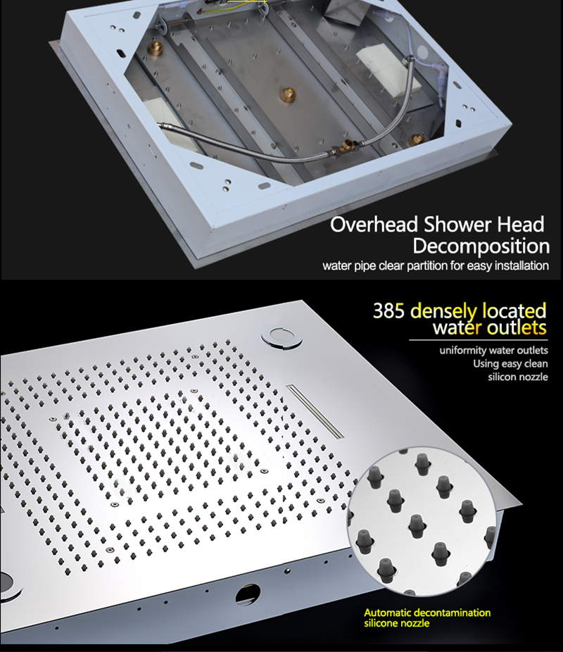 Luxurious LED Shower System Ceiling Mount Rain Head Set 31 Luxury Big Rain Shower Head Dual Rain and Waterfall Shower Sets (22)