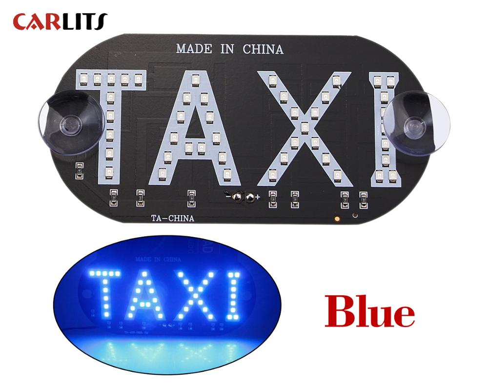 CARLITS 1PCS/Lot TAXI Car LED Indicator Light Taxi Panels Sign Green Signal Warning Light Super Bright Red White Blue Green