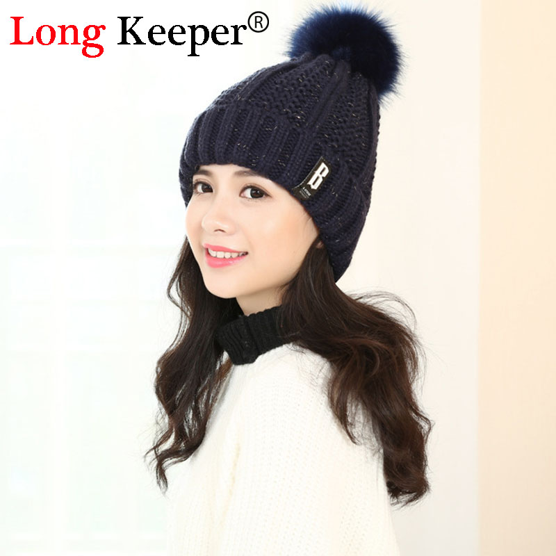 YBZ Brand Women Spring Winter Hats Beanies Knitted Cap Crochet Hat Rabbit Fur Pompons Ear Protect Casual Cap Chapeu Feminino winter women beanies pompons hats warm baggy casual crochet cap knitted hat with patch wool hat capcasquette gorros de lana