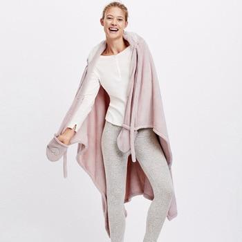 Cute Pink Comfy Blanket Sweatshirt Winter Warm Adults and Children Rabbit Ear Hooded Fleece Blanket Sleepwear Huge Bed Blankets 4