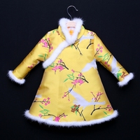 Winter full sleeve Cheongsam dress kids woven floral quilted children girls clothes family clothing mother daughter outer dress