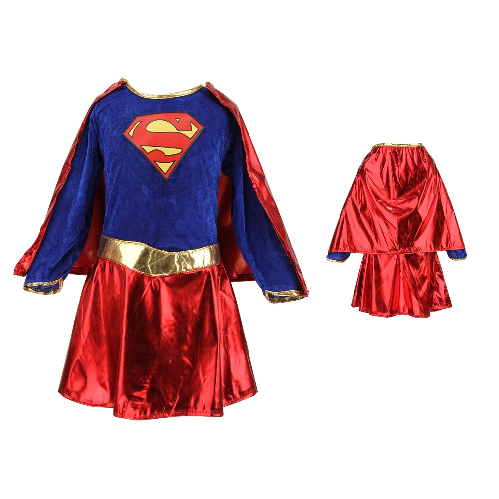 kids child girls costume cosplay fancy dress superhero supergirl comic book party outfit in