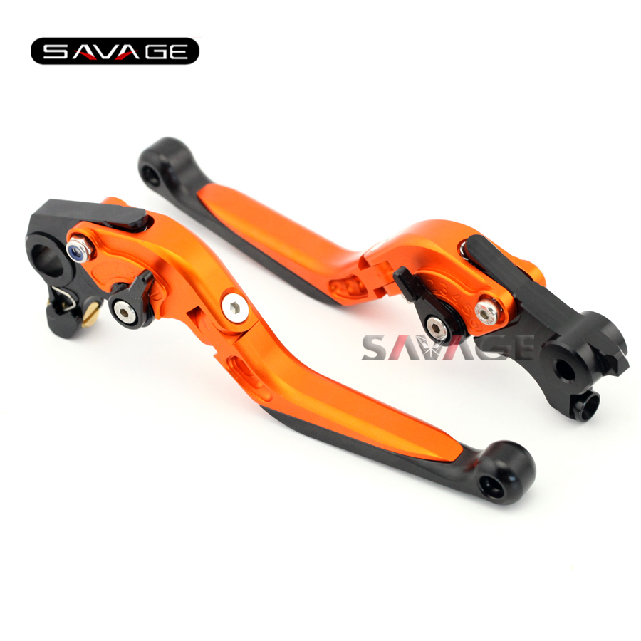 For KTM 690 DUKE /SMC-R/ Enduro R 2014 2015 2016 Motorcycle Accessories Adjustable Folding Extendable Brake Clutch Levers Orange for ktm 690 duke r smc smc r enduro r new motorcycle adjustable handlebar riser bar clamp extend adapter