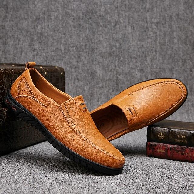 Kích Thước lớn Mới Chia Đến Người Đàn Ông Da Giày Thường Giày Thời Trang Chất Lượng Hàng Đầu Driving Giày Da Đanh Trượt On Giày Đế Bằng Giày Người Đàn Ông Giày Phẳng 36 ~ 46