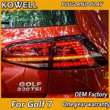 KOWELL รถยนต์สำหรับโฟล์คสวาเก้น VW Golf 7 MK7 Golf7 Golf7.5 MK7.5 LED ไฟท้าย LED ด้านหลังหลอดไฟแบบไดนามิกเลี้ยวสีเหลือง