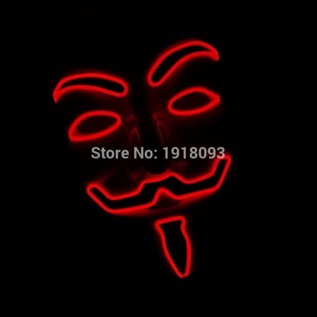 NEW Arrive 10 COLOR lighting Vendetta EL mask LED Mask for party halloween Holiday lighting  By 3V Sound Active Driver