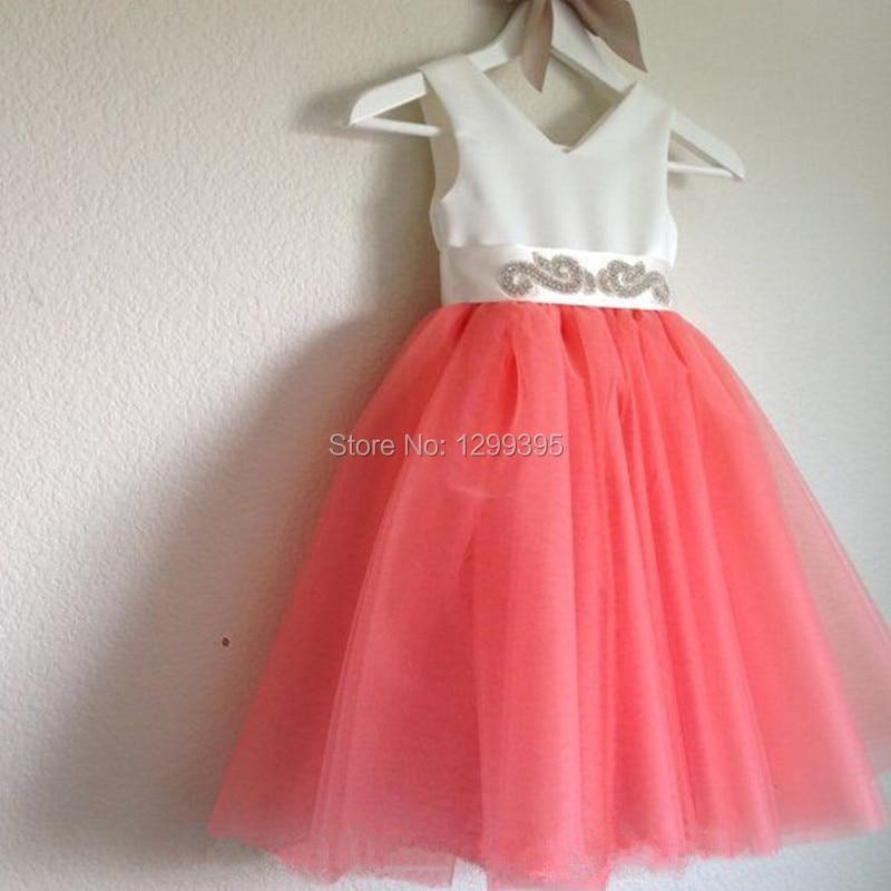 Vestidos de graduacion color coral de nina