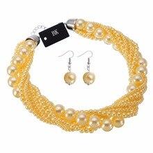 цена на BK New Fashion Resin Pearl Beads Chain Chunky Choker Statement Pendant Bib Necklace