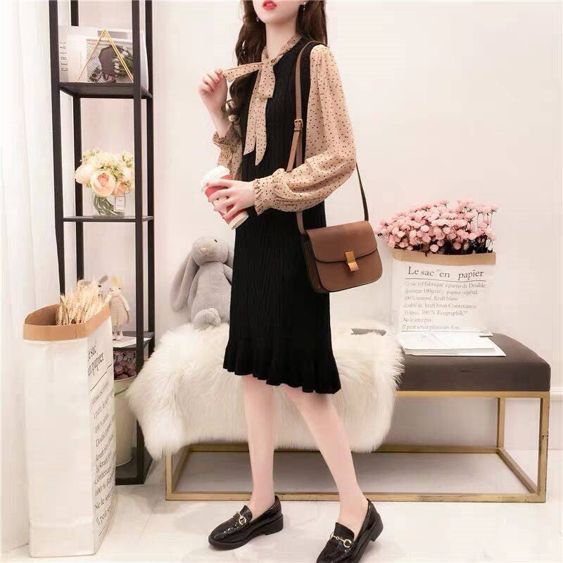 2019 Spring Autumn Women Sweet Bow Dot Chiffon Blouse + Female Casual Vest Mermaid Knitted Sweater Dress Two Piece Sets K165 Платье