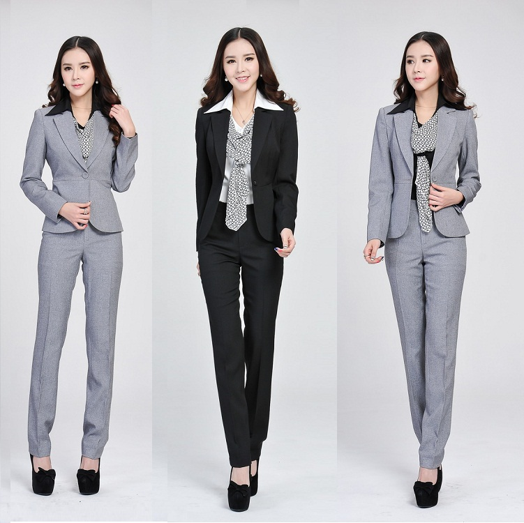 2015 new spring women suits two piece pants and top office for Office uniform design 2015