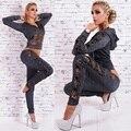 Mujer sudaderas Con Capucha de manga larga traje de moda 2 Unidades Set remiendo de Las Mujeres Del Bowknot Leopard Impreso Sportswear Svitshot
