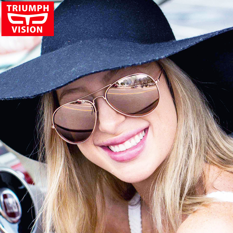 TRIUMPH VISION HD Polarized Aviator Sunglasses Women Pink Mirror Pilot Polaroid Sun Glasses For Women Brand Shades Oculos Female