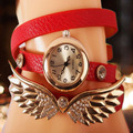 Fashion and Special Rhinestone Casual PU Leather Band Bracelet Watch Wristwatch Women Wings Wristwatches Long Band Watch