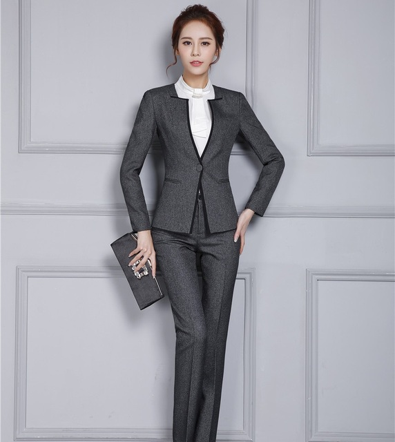 New Autumn Winter Professional Pantsuits With Jackets And Pants ...