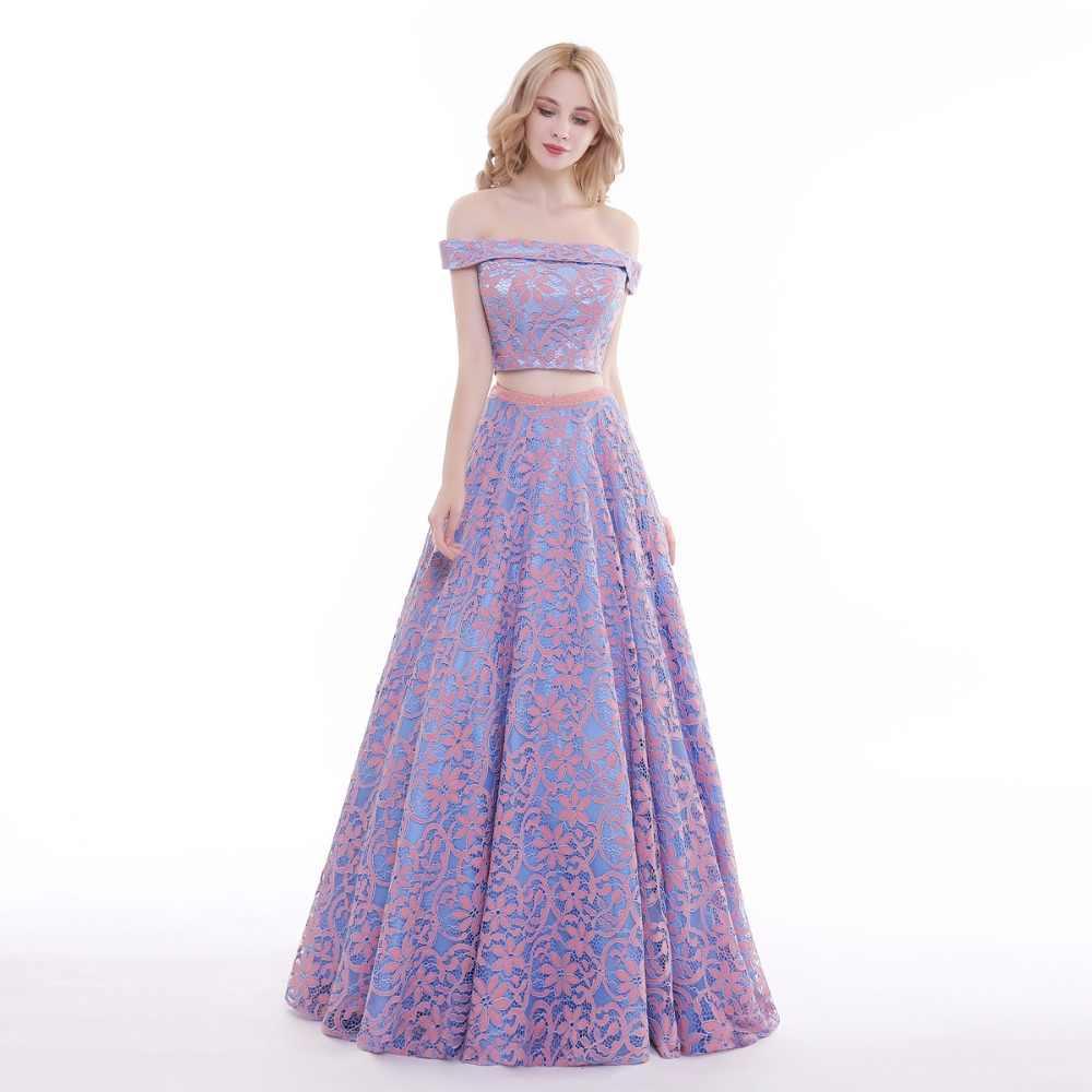 a6c602755ebe3 Lemon joyce Purple Prom Dresses Long 2019 Two Piece Sexy Flowers Lace Off  the Shoulder Evening Dress Formal Lady Party Dresses