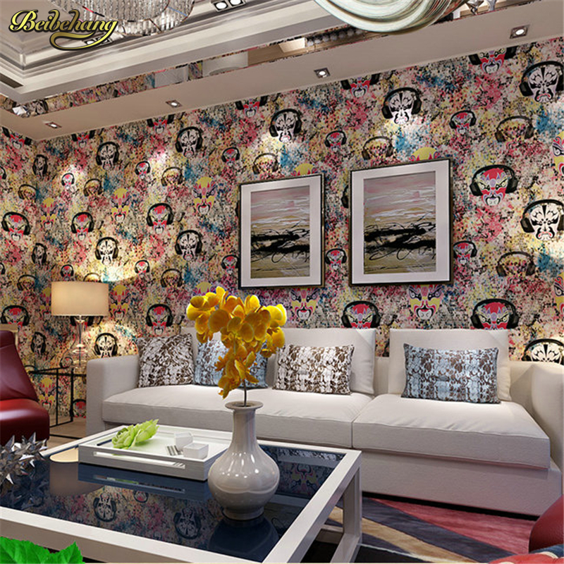 beibehang papel de parede,Chinese imports of personality charm mask pure paper bedroom sofa background wallpaper for walls 3 d stylish 100 pcs bag docile pure cotton compressed mask paper