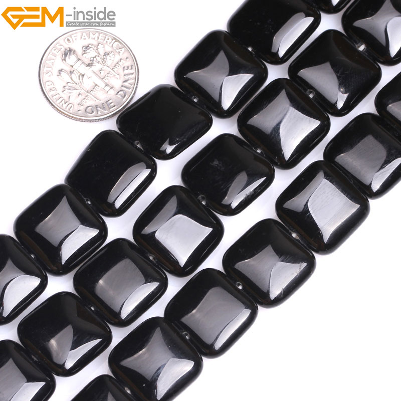 Gem-inside 10-14mm Natural Square Black Agates Beads For Jewelry Making 15inches DIY Christmas Valentine Gift Jewellery