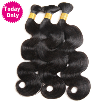 [TODAY ONLY] 3 Bundles Peruvian Body Wave Bundles Human Braiding Hair Bulk No Weft Remy Human Hair Bundles Peruvian Hair Bundles