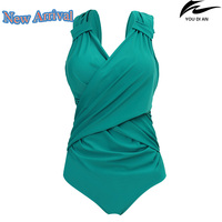 2017 New Solid Color Women Swimwear One Piece Large Size Russian Swimsuit Plus Size Beachwear Bathing