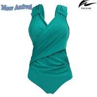 2017 New Solid Color Women Swimwear One Piece Large Size Russian Swimsuit Plus Size Beachwear Bathing