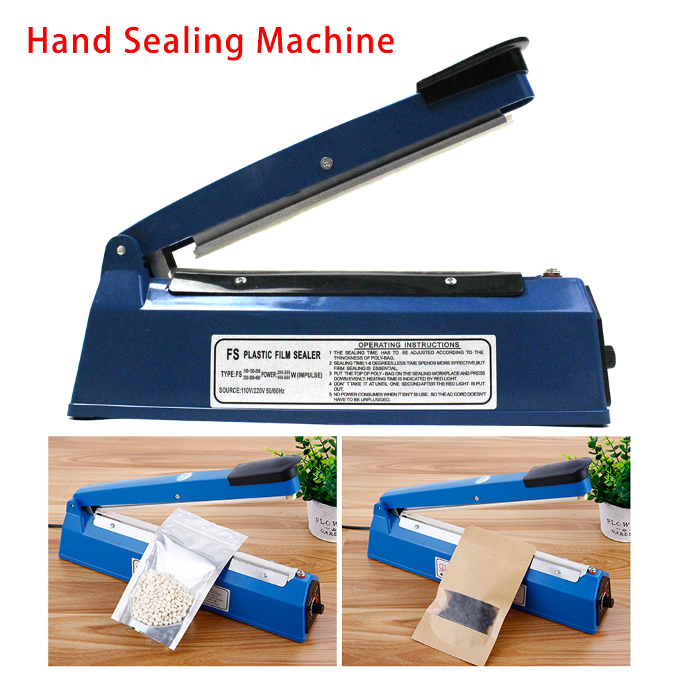 Electric 8 Stalls 200mm 220v Hand Sealing Machine Plastic Poly Bag Impulse Heat Sealer 1pcs fkr200 impulse heat sealing machine to almumin foil bag sealer handy packaging equipment electric tool