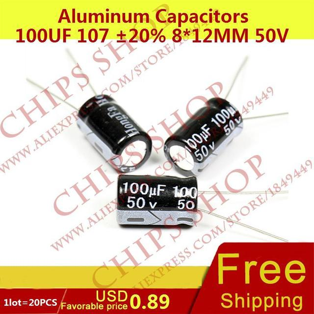 1LOT=20PCS Aluminum Capacitors 100uF 107 20% 8*12mm 50V 100000nF 100000000pF Diameter8mm