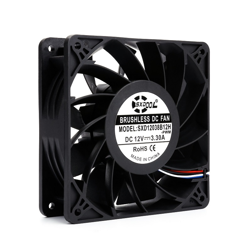 gpu cooling ffan for antminer SXD12038B12H 120mm 120 120 38mm DC12V 3 3A 5200RPM 210CFM powerful