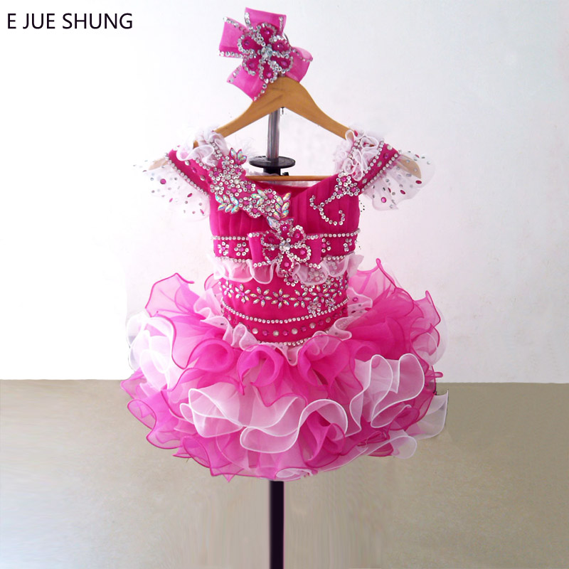 E JUE SHUNG Fuschia and White Organza Mini cupcake   flower     girl     dresses   pageant   Girl     Dresses   infant toddler   dresses