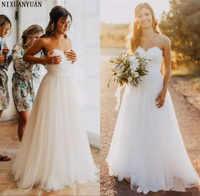 2019 Beach Wedding Dress A Line Sweetheart Vestido Noiva Praia Simple White Tulle Casamento Sashes Bridal Gown Custom Made