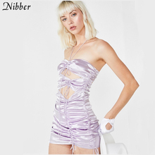 Nibber Vestido corto femenino informal de verano sin hombros, minivestido sexy ajustado para mujer, para fiesta calado, oficina, pantalón corto
