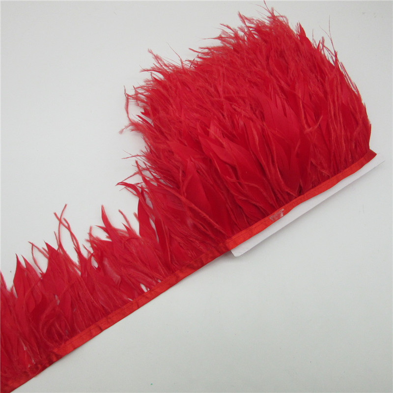 1 Yard/lot 10-15CM Ostrich Feather Trims Natural Black White Turkey