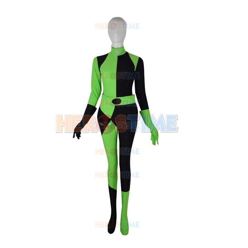 Adults/Childrens Kim Possible Shego Cosplay Costumes Female Super Villain Halloween Costume Womens Lycra Spandex Zentai Bodysuit