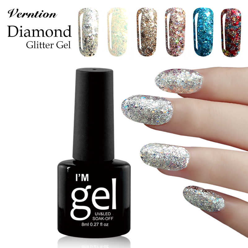Verntion sorte 3D Diamante Brilhante Glitter Gel Prego Laca Vernis Long-lasting Semi Permanente Vernizes 8 ml 1 pcs nail Art