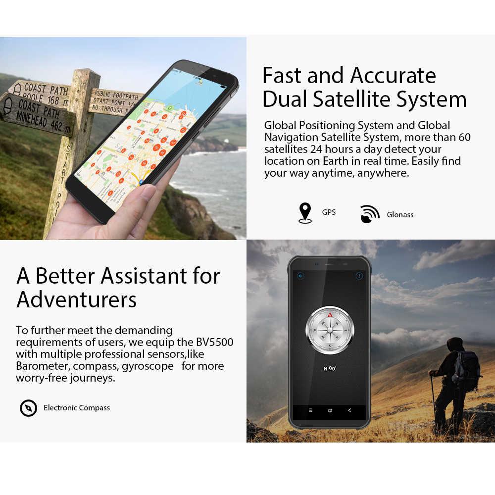 "Blackview bv5500 pro ip68 impermeável 4g telefone móvel 3 gb + 16 gb 5.5 ""tela 4400 mah android 9.0 torta sim duplo smartphone áspero"