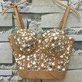 2016 Nova Handmade das Mulheres Sexy Cintas de Espaguete Luxo Brilhante Rhinestone Bordado Underwired Bodycon Cropped Top Bralette Blusa