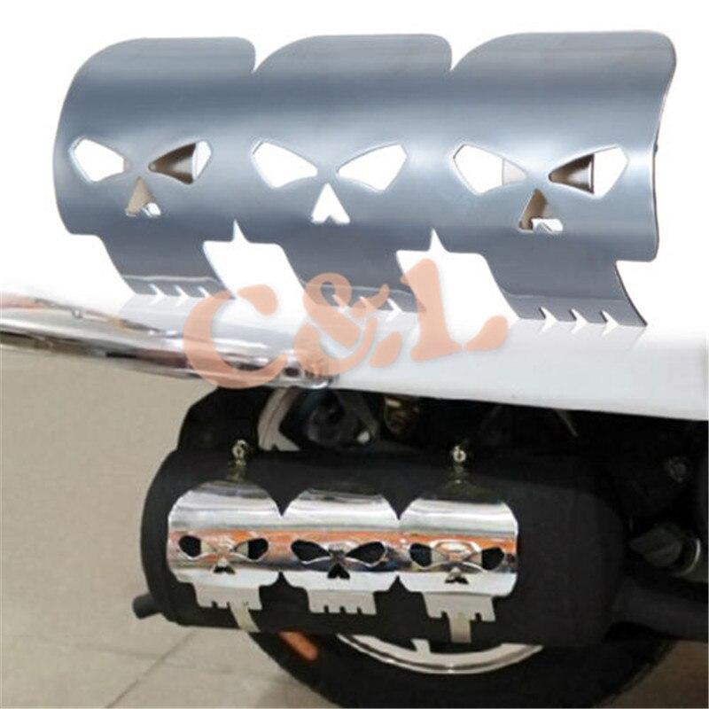 Exhaust Skull Heat Shield Guard Black Metal Motorcycle Bike Cruiser Chopper