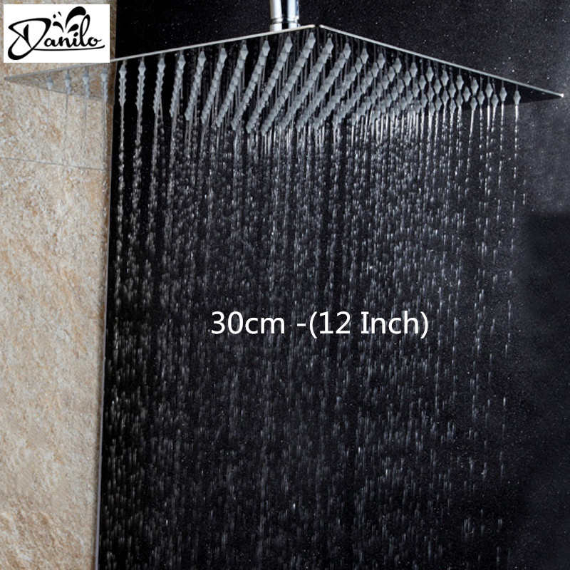 Stainless Steel 12 Inch Bathroom Rain Shower Head Square Chrome Ultra Thin  Showerheads Rainfall Shower Head Rain Shower