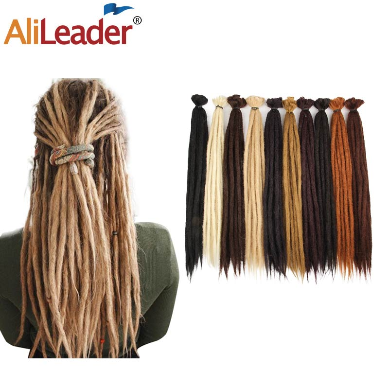 "AliLeader 20"" 100% Handmade Dreadlocks Extensions Synthetic Crochet Dreads Braiding Hair Extension For Men And Women Black 1Root"
