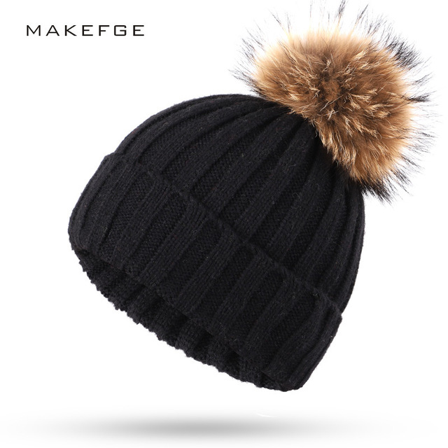 Wholesale Real Mink Fur Pom Poms Knitted Hat Ball Beanies Winter Hat For Women Girl 'S Wool Hat Cotton Skullies Female Cap