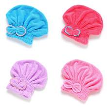 Coral Fleece Women Lovely Bowknot Quick Dry Bath Hat Shower Soft Coral Fleece Hair Drying Cap(China)