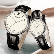 Couple Watch 2 pack Genuine Leather Strap Quartz Suit for Christmas Gift Valentine's Day Watch Gift or Birthday Gift for lover