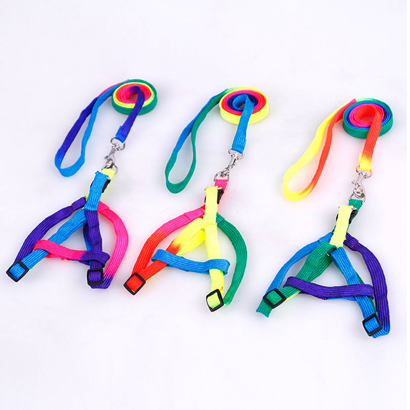 1 pcs Colorful colors 120cm 1 0cm Size adjustable dog leash Nylon Chest back pet traction rope Basic Leashes Dog Chains in Leashes from Home Garden